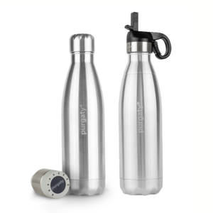 UV-C-LED-Trinkflasche - purgaty® ALL-IN-ONE-Set - grey stone metal