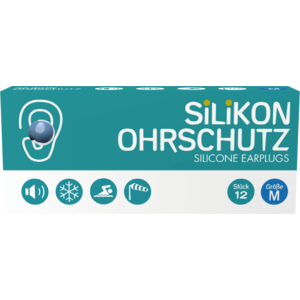Silikon Ohrstöpsel Erwachsene (Ohrschutz, Gehörschutz, Geräuschschutz), blau, Medium, 12 STK