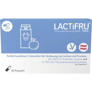 LACTIFRU Forte MSR Kapseln Original, Lactose & Fructose Verdauung, Kombination, 13.500 FCC-Einheiten Lactase und 900 GIU Glucose-Isomerase-Einheiten, vegan, 60 STK