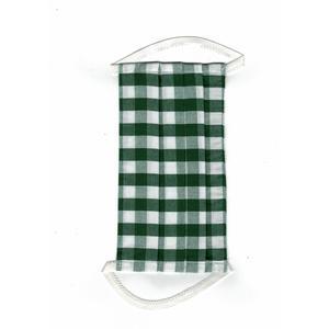 Mund-Nasen-Schutz, Leinenmaske für Erwachsene, Kariert Grün 1 Stk. FFP 0, Gummiband, Wiederverwendbar, Waschbar