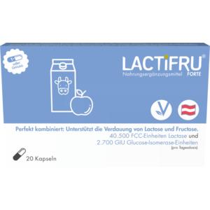 LACTIFRU Forte MSR Kapseln Original, Lactose & Fructose Verdauung, Kombination, 13.500 FCC-Einheiten Lactase und 900 GIU Glucose-Isomerase-Einheiten, vegan, 20 STK