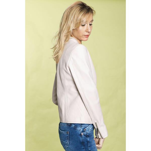 Dume Leather Jacket - Cream Pearl