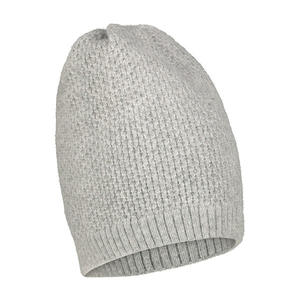 Cable-knit soft gray beanie