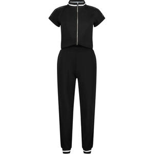 Short sleeve zip up jumpsuit