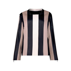 Striped wool and leather jacket