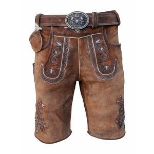 Kurze Herren Lederhose mit Gürtel, Braun, Speckig, Antik Look Leder, Oldtimer - Gr.52