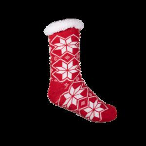 Hüttensocken D001 mit ABS Sohle, Extra Warm, Thermal Socks, Größe 36-41 Rot