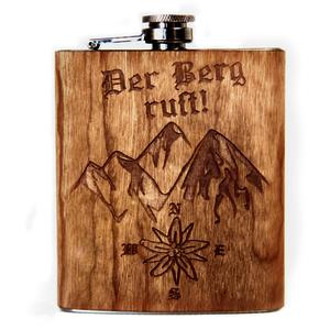 Flachmann mit Holzgravur | 7oz Taschenflasche