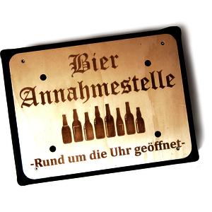 Bierkistenhocker mit Grafikgravur Annahmestelle! | Biergeschenkidee