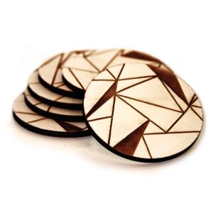 Tassenuntersetzer Polygonal 6er Set Holz mit Gravur