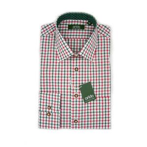Trachtenhemd in Rot und Grün gestreift
