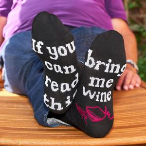 Lustige Socken - Lustige Socken - Unisex Fun Socken mit Emojis oder Spruch - If you can read this bring me wine (42-47)