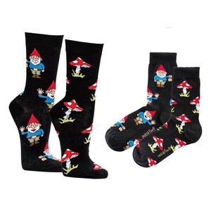 Lustige Socken - Unisex Fun Socken mit Emojis oder Spruch - Gartenzwerg (1x 36-41)