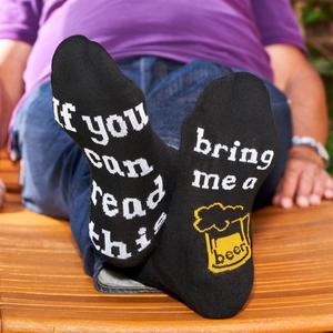 Lustige Socken - Lustige Socken - Unisex Fun Socken mit Emojis oder Spruch - If you can read this bring a beer (36-41)