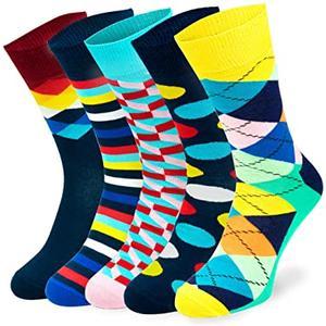 5 Paar bunte Fun-Socks für Kinder Damen und Herren (Größe: 39-42, Bunt6)