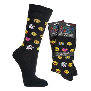 Lustige Socken - Lustige Socken - Unisex Fun Socken mit Emojis oder Spruch - Smile (1x 36-41)