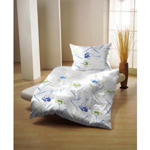 Traumhafte Bettwäsche in Glatt-Renforcé Weiß-Blau | 70 x 90/140 x 200 cm