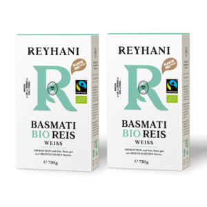 2 Stück Reyhani BIO Fairtrade Basmati Reis weiß 750g