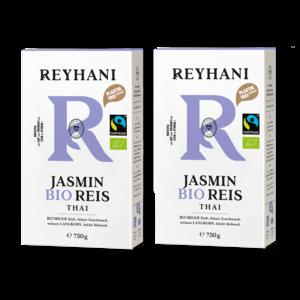 2 Stück Reyhani BIO Fairtraide Jasmin Reis weiß 750g