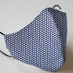Mund- und Nasenmaske mit Gummiband Erwachsene / Unisex - Blau - Weiß gepunktet
