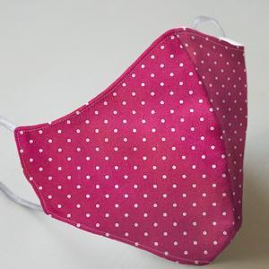 Mund- und Nasenmaske mit Gummiband Erwachsene / Frauen - pink mit Punkten