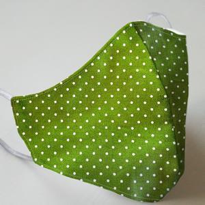 Mund- und Nasenmaske mit Gummiband Erwachsene - dunkelgrün mit Punkten
