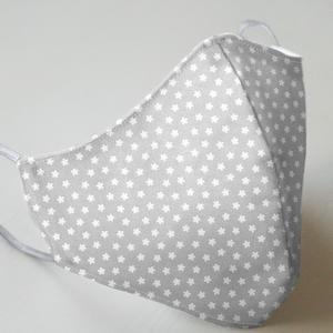 Mund- und Nasenmaske mit Gummiband Kinder 8 bis 12 Jahre - grau Blume/Stern