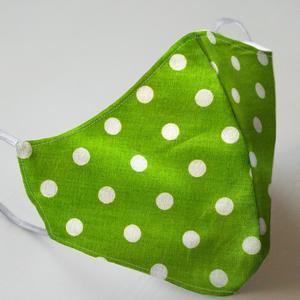 Mund- und Nasenmaske mit Gummiband Erwachsene / Unisex - grün mit Punkten