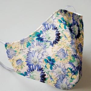 Mund- und Nasenmaske mit Gummiband Erwachsene / Frauen - Blume Blau
