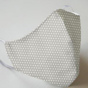 Mund- und Nasenmaske mit Gummiband Erwachsene / Unisex - Grau mit Punkten