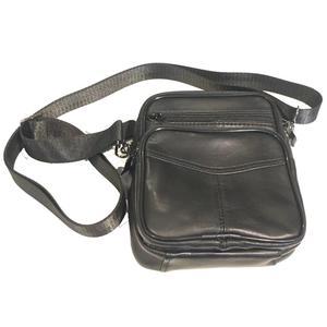 Echtes Leder-Männer Messenger Umhängetasche Schultertasche Kleine Reisetasche schwarz