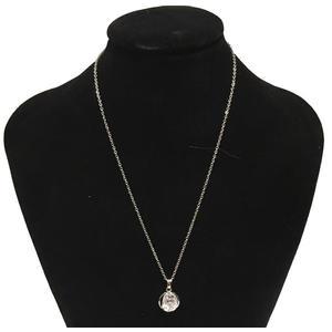 Kette Damen Halskette mit kristal Anhänger und ohrring 45CM Kettenlänge,weiss