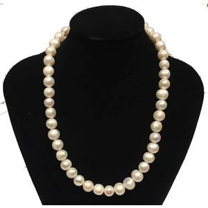 Perlenkette mit Süßwasserperlen,lang 44cm ,ellipse 8-9 mm, Weiß