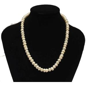 Perlenkette mit Süßwasserperlen,lang 42cm, rund, 5-6 mm, Weiß