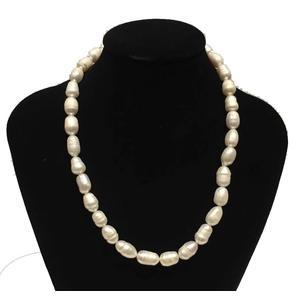 Perlenkette mit Süßwasserperlen,lang 44cm, rund 6-7 mm, Weiß