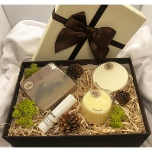 Geschenkbox Kokos - verschiedene handgemachte Naturkosmetikartikel aus natürlichen Rohstoffen mit Kokosduft