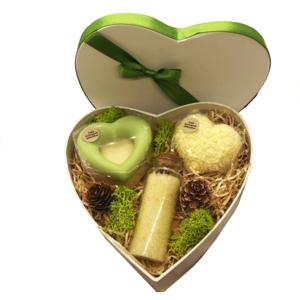 Muttertagsherz Zitrone - verschiedene handgemachte Naturkosmetikartikel aus natürlichen Rohstoffen mit Zitronenduft