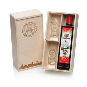 Rum-Kokos Likör mit 2 Schnapsgläsern