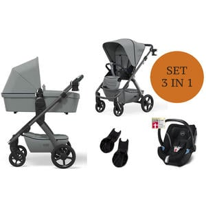 Moon Number One Kinderwagen Set 3 in 1 inkl. Babyschale Modell 2021 Stone Soho Grey