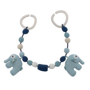 Sebra Kinderwagenkette, handmade gehäkelt Lagoon blue
