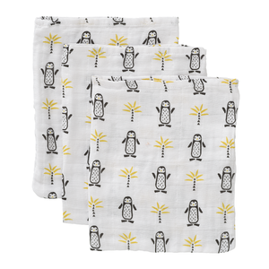 Fresk Waschhandschuhe Baumwolle 3er Set Pinguin