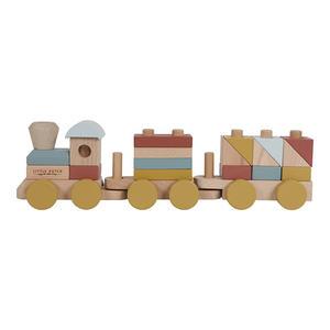 Little Dutch Holz Eisenbahn mit Bauklötzen Pure & Nature