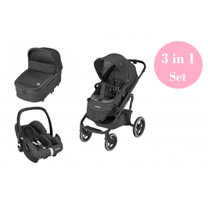 Maxi Cosi Lila XP Kinderwagen Set 3 in 1 (Oria XXL Babywanne & Rock Babyschale) Essential Black Essential Black