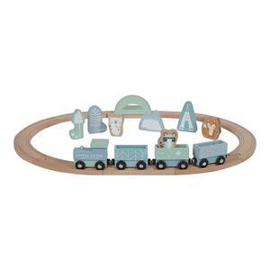 Little Dutch Holz Eisenbahn mit Schienen Blue