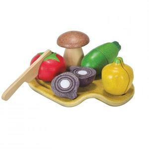 PlanToys Spielzeuglebensmittel-Sets aus Holz zum Schneiden Gemüse