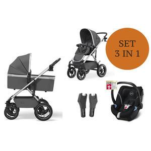 Moon Nuova Kinderwagen Set 3 in 1 inkl. Babyschale Modell 2021 Air Anthrazit Deep Black