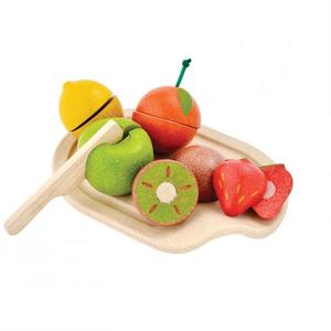 PlanToys Spielzeuglebensmittel-Sets aus Holz zum Schneiden Früchte