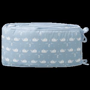 Fresk Nestchen für Babybett 180 cm Wal blau