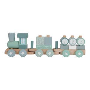 Little Dutch Holz Eisenbahn mit Bauklötzen Blue