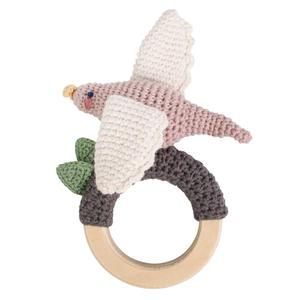 Sebra Häkel-Rassel auf Holzring Bird on Ring